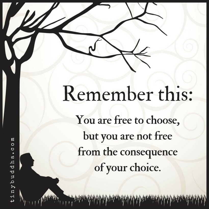 Remember this: You are free to choose, but you are not free from the consequence of your choice.