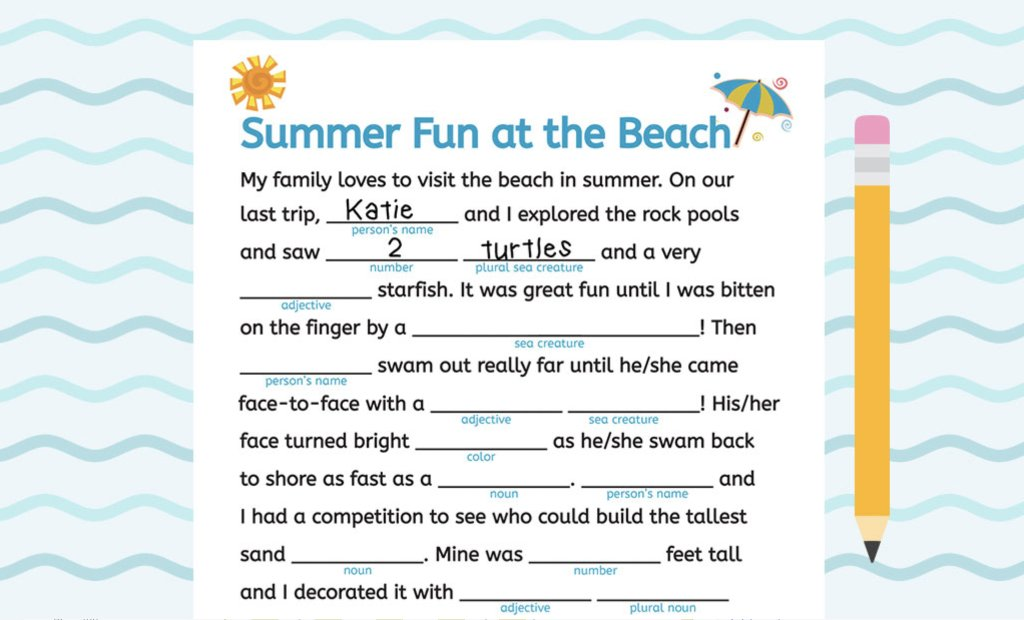 image relating to Summer Mad Libs Printable known as Scholastic Mom and dad upon Twitter: \