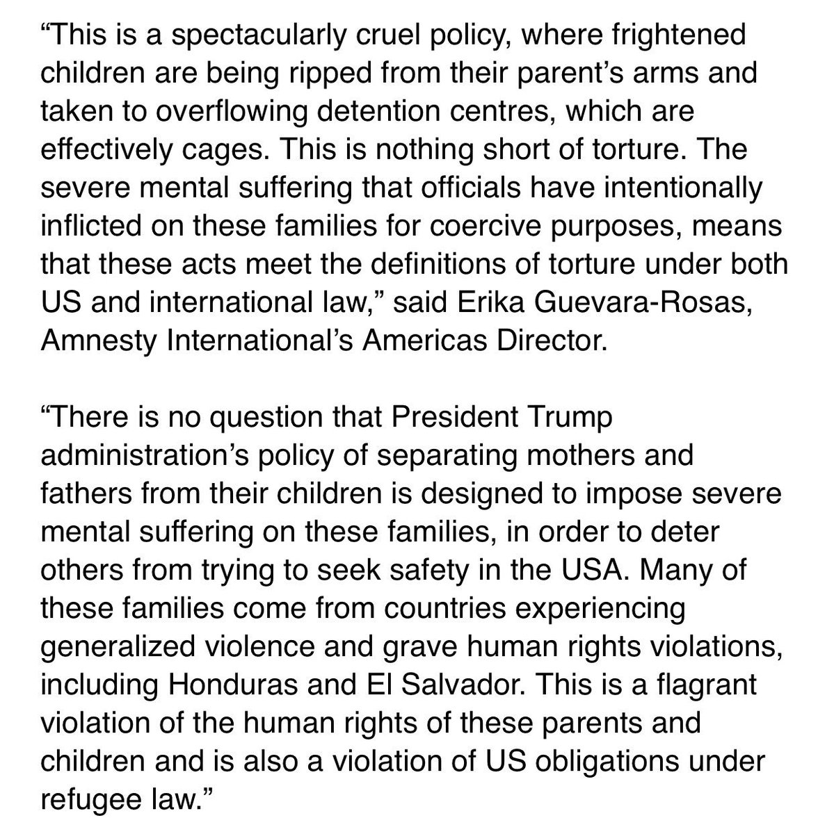 """New Amnesty International statement pulls no punches on Trump's family separations, calls it """"nothing short of torture"""""""