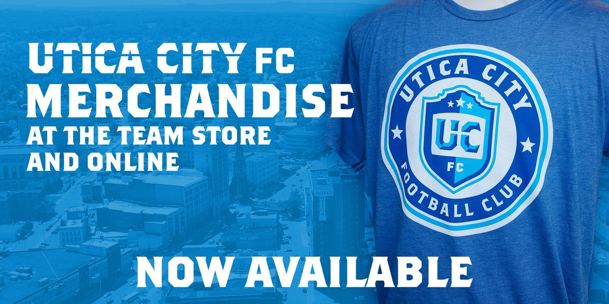 Gear up for the season with Official Utica City FC merchandise! The Team Store at the @ADKBankCenter is open Monday-Friday from 10am-4pm or visit the online store at any time! Online Store: bit.ly/2t9MtLC