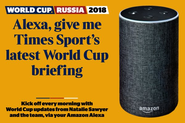 Start your morning with Natalie Sawyer 🌅☕️  Ask Alexa for our latest World Cup briefing to hear all the news from Russia delivered by our podcast host as well as updates from our team  https://t.co/NaQ5NaAWSF #WorldCup