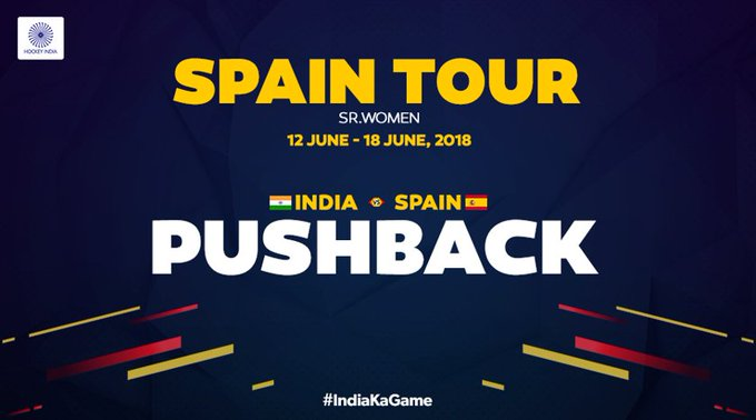 It's PUSHBACK! And the fifth and final game between the Indian Women's Hockey Team against the host, Spain is underway at the Consejo Superior de Deportes Hockey Stadium, Madrid. #IndiaKaGame Photo