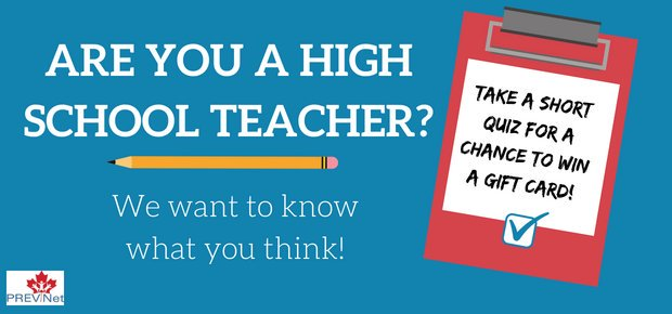 prevnet on twitter canadian high school teachers please share your insights with us before july 31 five minutes and a chance to win a visa gift card - Visa Gift Card Canada