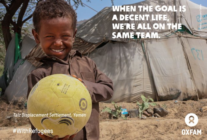 During the #WorldCup, give a shout for those who cannot play on their home field #WithRefugees Photo