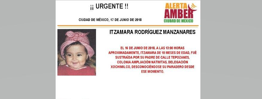 Activan Alerta Ámber para localizar a bebé sustraída por su padre en Xochimilco https://t.co/DbL9NUitI0 https://t.co/g8fPbVIQQF