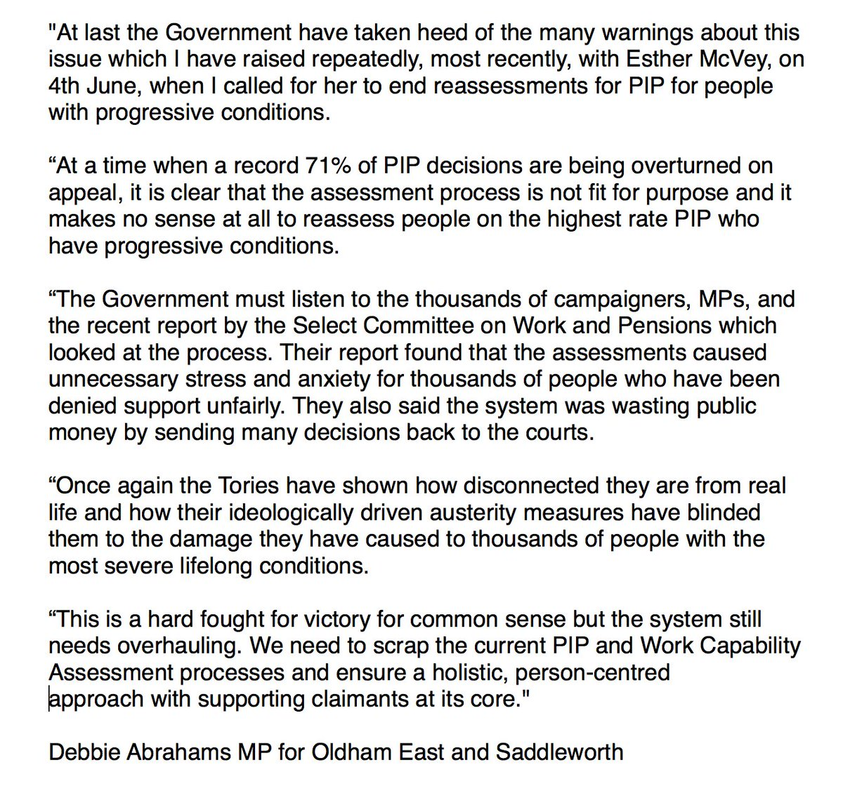 Once Driven Reviews >> Debbie Abrahams Mp On Twitter Here S My Reaction To The