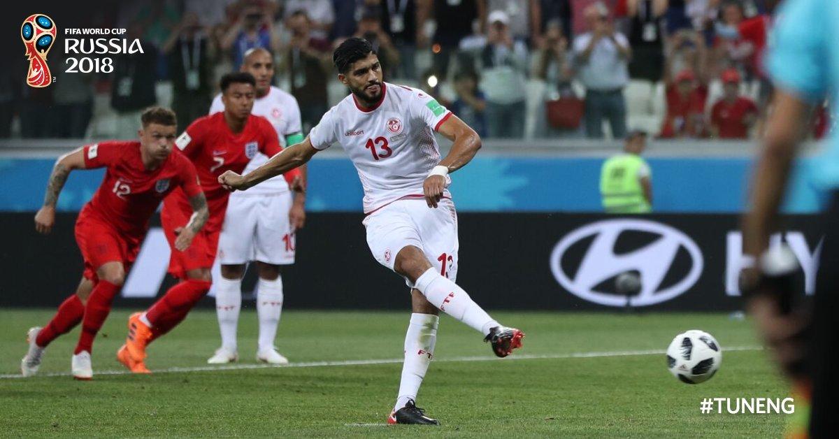 هدف منتخب تونس في شباك إنجلترا