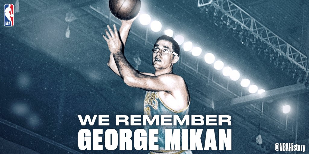 Today WE REMEMBER 4x All-Star, 3x Scoring Champ and Hall of Famer, George Mikan (1924-2005) .