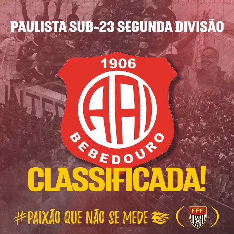 CLASSIFICAÇÃO ANTECIPADA! Líder do Grupo 2 com 25 pontos, a Inter de Bebedouro é o primeiro time a se classificar para a segunda fase do Paulista Sub-23 Segunda Divisão! #PaixãoQueNãoSeMede #FPF #FutebolPaulista #EsseÉoMeuJogo
