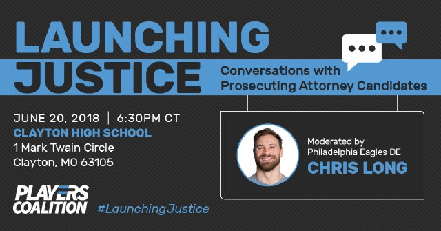 Prosecuting Attorneys can have a huge hand in helping end many injustices in our communities. That is why I'm holding a public forum on 6/20 w @playercoalition to talk to PA candidates in #StLouis County, MO. @bell4STL is joining- Bob McCulloch will you?