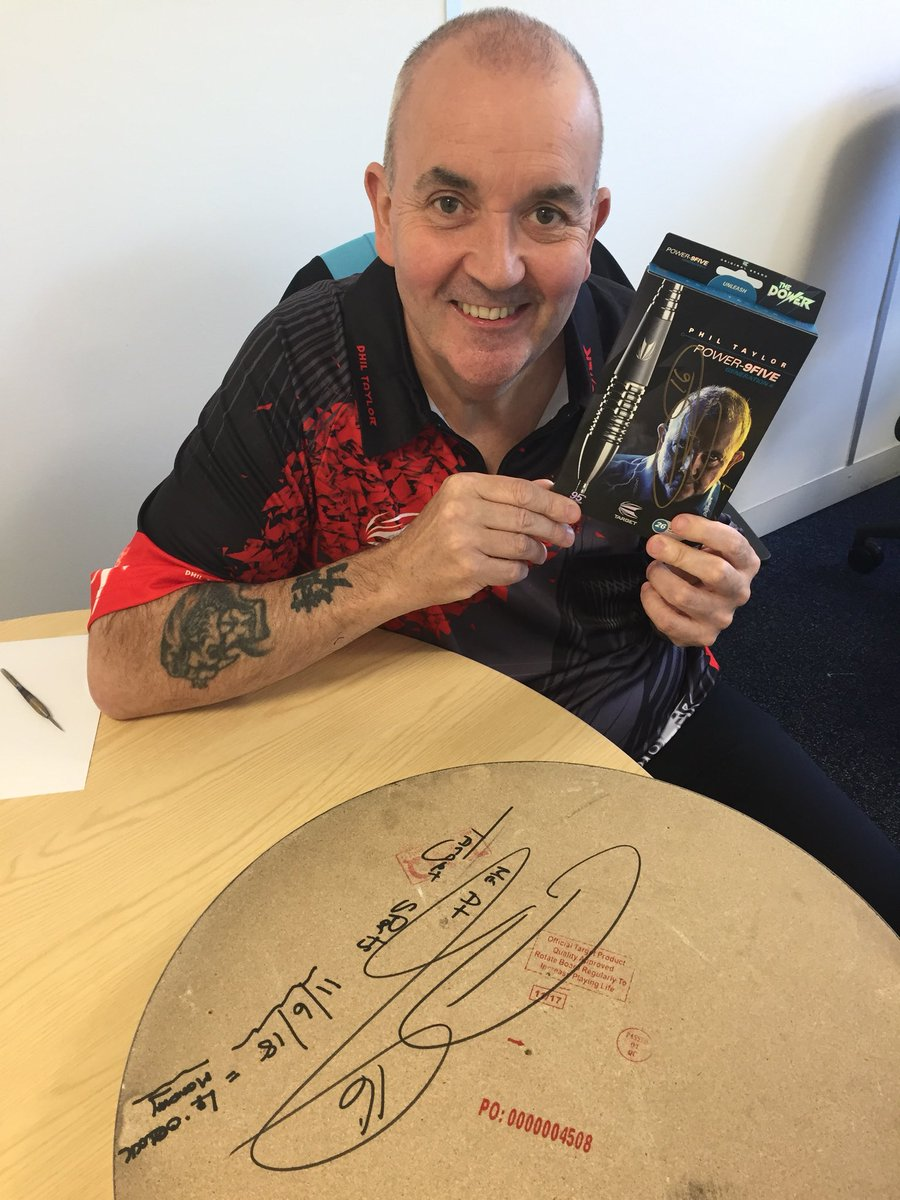 As promised... it's competition time! For your chance to win the signed dartboard Phil practiced on in our LIVE video, AND the signed set of darts he threw, all you need to do is RT this tweet and FOLLOW us for your chance to win.