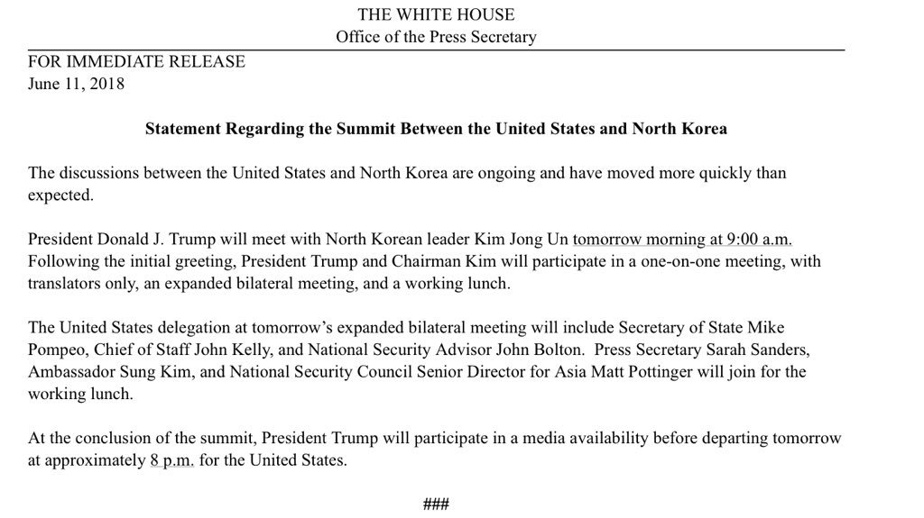 White House: Statement Regarding the Summit Between the United States and North Korea https://t.co/RIqBI8FCiF
