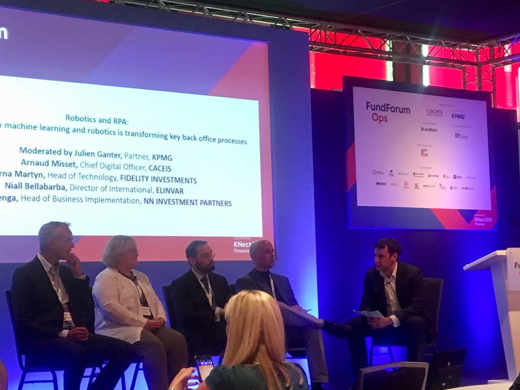 Now on the panel at #FundForum International discussing #Robotics & #ML in #asset  & #WealthManagement : Our Director International @NiallNilo78 - feel free to ping him if you're there as well and interested in how our platform can enable you to digitalize your business. #meetus