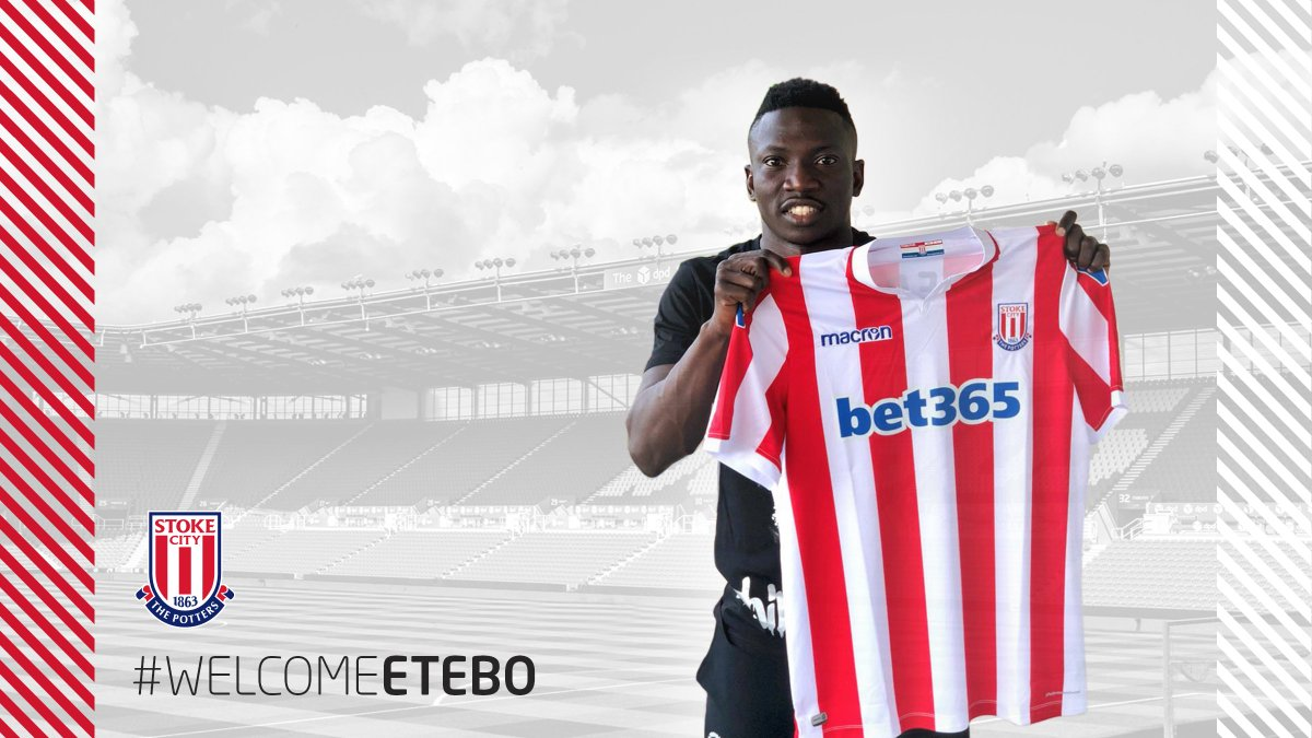 #WelcomeEtebo Stoke City are delighted to announce the signing of Nigerian international Oghenekaro Peter Etebo on a five-year contract The 22-year-old midfielder joins the Potters from Portuguese side Feirense for a fee of €7.2million 👉 stokecityfc.com/news/exclusive… #SCFC 🔴⚪️