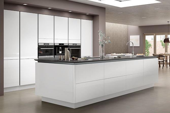 Benchmarx Kitchens Joinery On Twitter Introducing Our Eton Gloss White Kitchen In A True Handleless Design A Great Choice For Both Style And Practicality Why Not Try Creating A Stunning Centre