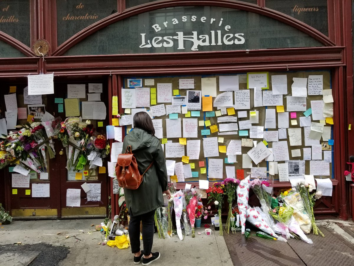 A memorial for Anthony Bourdain is growing outside of Les Halles