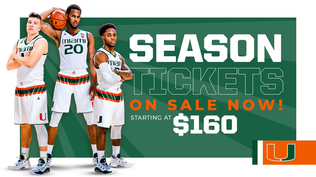 Here. We. Go. @CanesHoops season tickets are officially on sale. Join us at the @WatscoCenter this fall and lock in your seats by calling (305) 284-2263, or click here: hurricanesports.evenue.net/cgi-bin/ncomme…