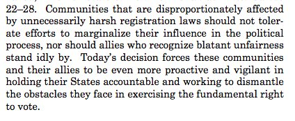 This is a nightmare scenario for voting rights advocates. SCOTUS has effectively given red states the green light to engage in voter purges that disproportionately affect minority and low-income communities. Sotomayor's dissent is scathing.
