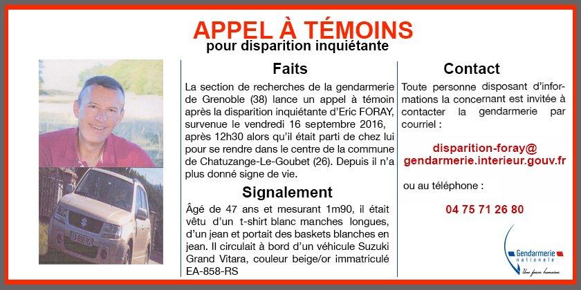 si vous disposez dinformations contactez la gendarmerie au 04 75 71 26 80 ou disparition foraygendarmerieinterieur gouvfrpictwittercomyf2kpppteo