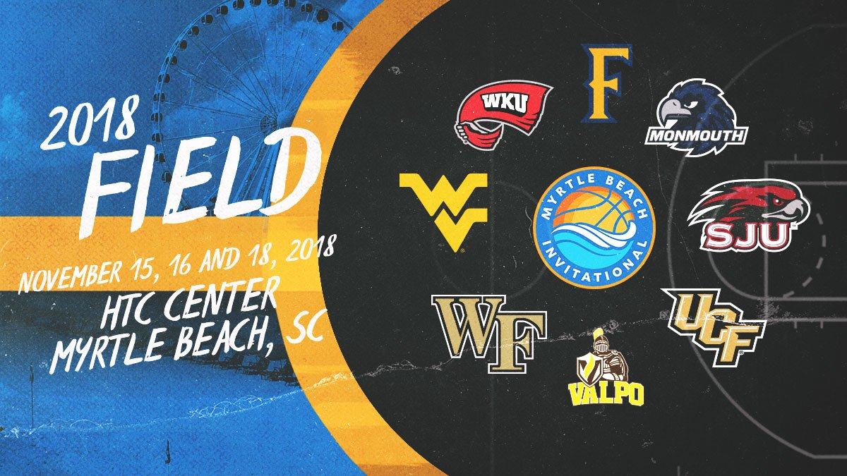 🚨 @MonmouthBBall completes the eight-team field for the inaugural Myrtle Beach Invitational. The event features two returning NCAA Tournament teams (@WVUhoops and @FullertonHoops) as well as NIT Final Four squad @WKUBasketball