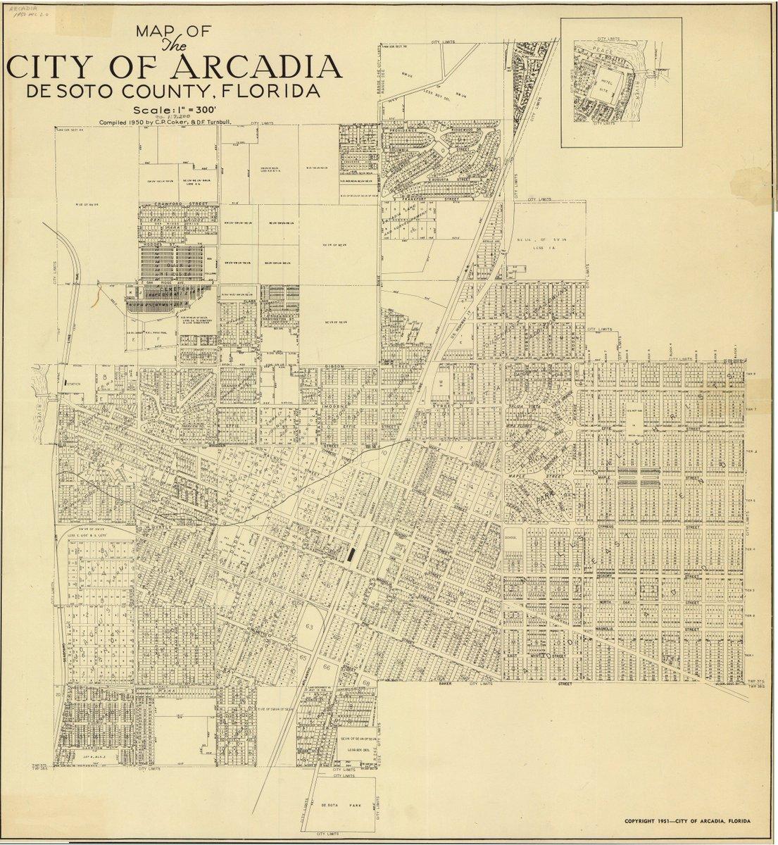 Arcadia Florida Map.Florida Memory On Twitter A 1951 Map Of Arcadia Florida Arcadia
