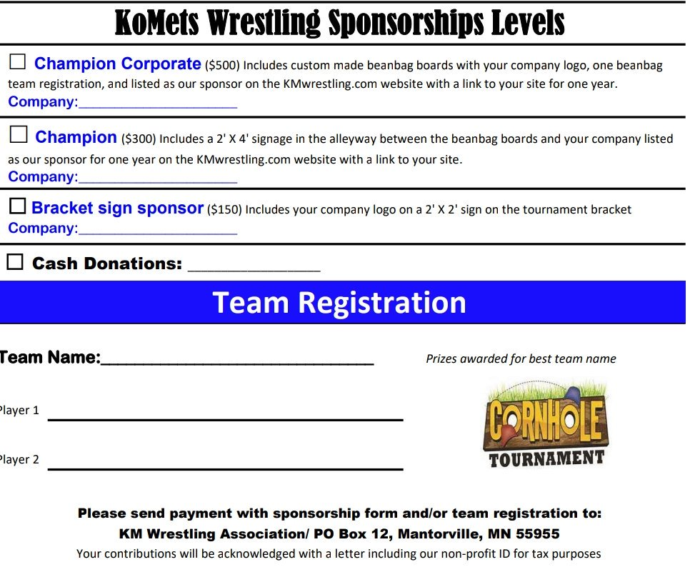 It S Not Too Late To Become A Sponsor For Our Komet Wrestling Beanbag Tournament Rt Chance Win Custom Set Of Boards