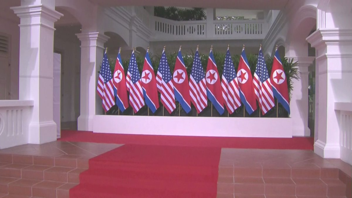 Can't recall ever seeing arrangement of US and NK flags side by side like this.