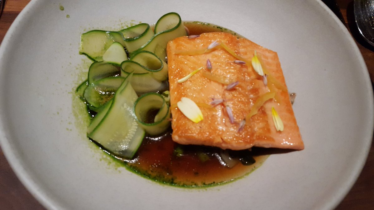 @aster_sf #foodie Trout, spring onion-miso broth, summer squash, ramps https://t.co/aZRsZw9VcA