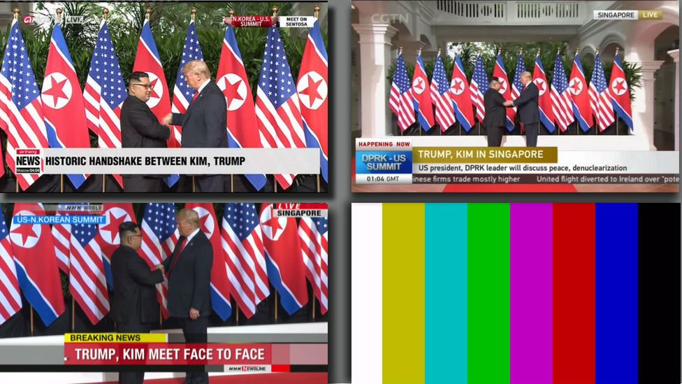 Screenshots taken at the same moment on TV in South Korea, China, Japan and North Korea. #TrumpKimSummit
