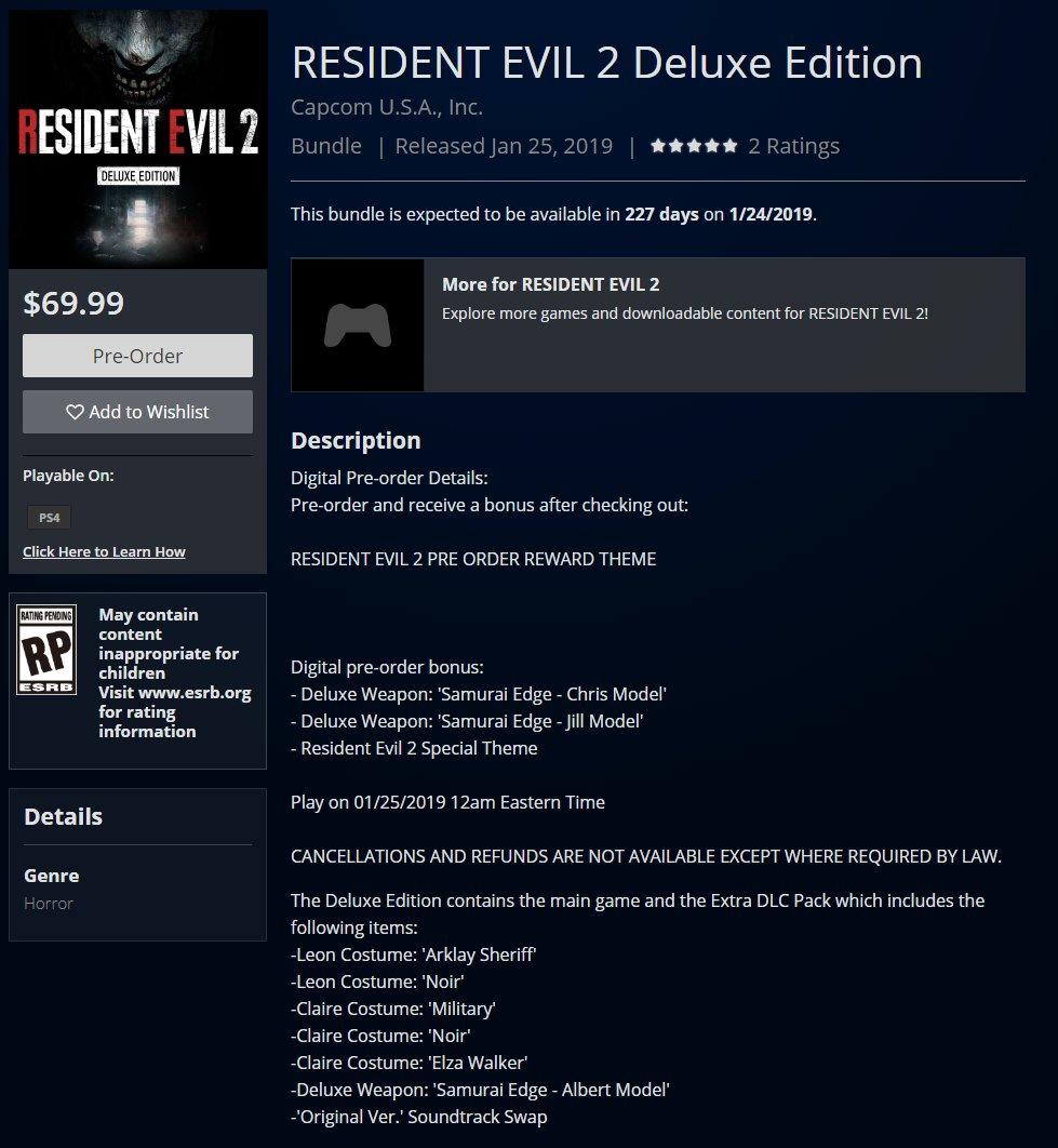 resident evil 2 deluxe edition bonuses