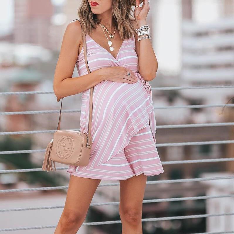 053800c911422 Pink Maternity Flounced Stripes Cami Dress https://www.binkish.com/