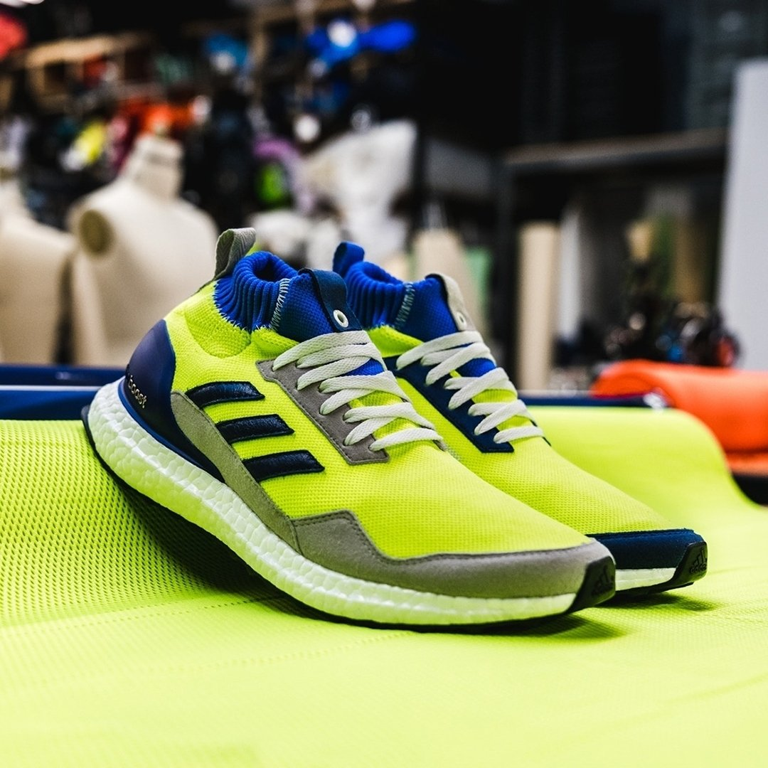 2803c9c87c7c adidas Proto x UltraBOOST Mid  Solar Yellow Hi Res Blue . Now available  online. Sizes range from UK7.5 - UK10 (including half sizes)