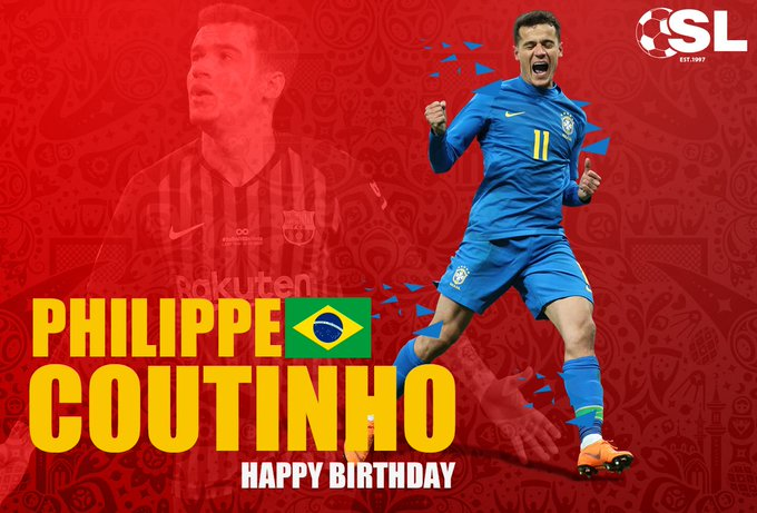 Philippe Coutinho is turning 26 today! Join us in wishing the Brazilian international a Happy Birthday!