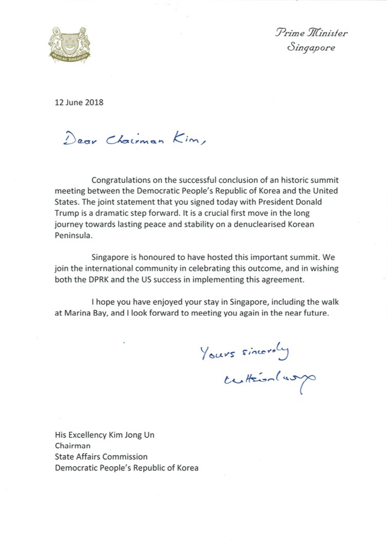 Wrote to N. Korean leader Kim Jong Un & President @realdonaldtrump to congratulate them on the successful conclusion of an historic meeting. My tks to our servicemen, public officers & their teams who worked on this summit for a good job done! – LHL bit.ly/2sQ72wC
