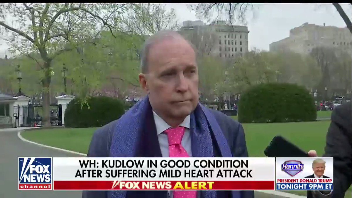 .@WhiteHouse: Kudlow in good condition after suffering mild heart attack fxn.ws/2HEKTWI @AmericaNewsroom