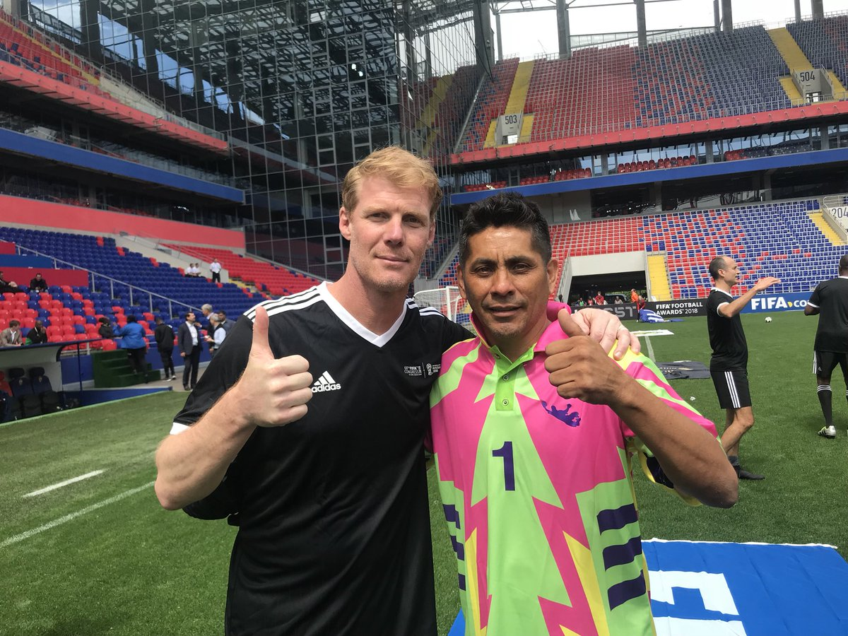 a00fa476f kicking it with the always colorful jorge campos at the fifa legends game  in moscow