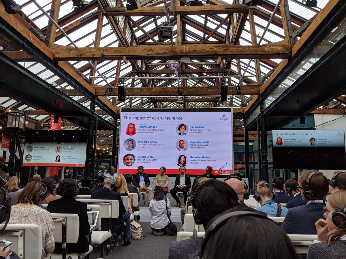 Good to hear @hormigaloca @cytora @rezakhorshidi speaking about Ai and insurance #cogx18