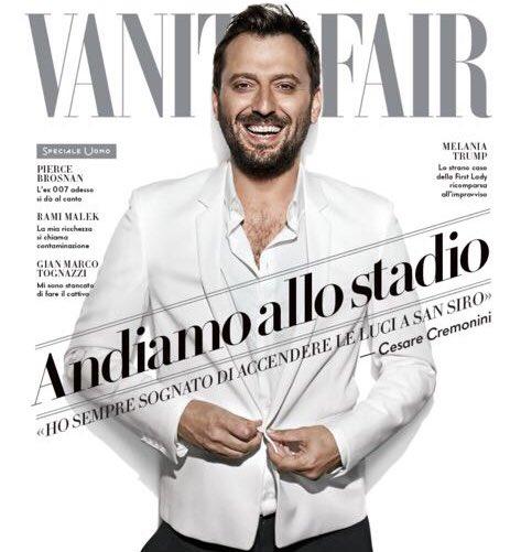 """""""La mia casa ora sono gli stadi"""". 💚Domani in edicola il nuovo @VanityFairIt @VanityFair con una speciale intervista realizzata da Malcom Pagani. #🌈🌈🌈 #CremoniniSTADI2018 #Vanity #Cover"""