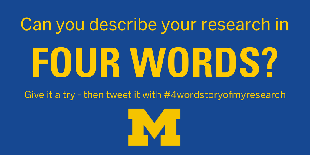 Forget #4WordStoryOfMyLife - can you rise to the #4WordStoryofMyResearch challenge? Our colleagues at @UMLifeSciences just started it - let&#39;s see if the #healthservicesresearch community can do the same as our biomedical science colleagues! #scicomm<br>http://pic.twitter.com/0nRvaVJkmi