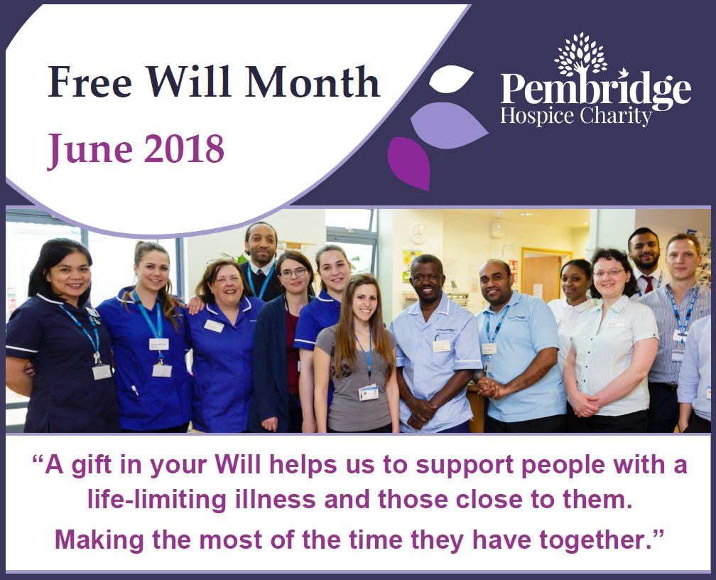 June is Free Will Month! Gifts in Wills are the foundation of the charity and our work supporting people with a terminal illness. We have teamed up with local solicitors who will write your Will for free. Visit https://t.co/yL285rhQMi to start making your will today