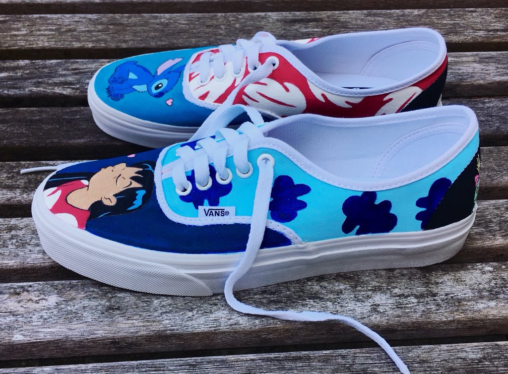 7c9d2a16432 These are some Lilo and Stitch Vans I was commissioned to paint. If you re  interested in some custom shoes of your own