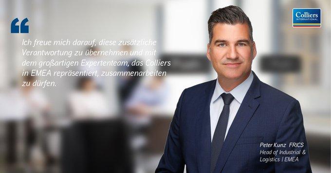Colliers International hat Peter Kunz FRICS zum Head of Industrial &amp; Logistics EMEA ernannt.<br><br>Herzlichen Glückwunsch!<br><br>Alle Informationen:  #logistics t.co/2Ul2dCaPJT