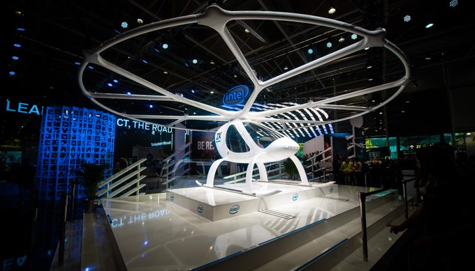 Cross a drone with an autonomous vehicle and you get the @volocopter, an autonomous flying vehicle with Intel-powered flight control systems. → #CEBIT18 Foto