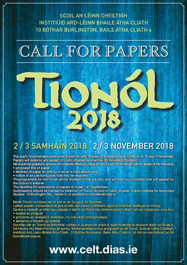 test Twitter Media - Tionól 2018 Call for Papers #SCSTionol2018 This year's Tionól will take place on 2nd and 3rd November @DIAS_Dublin. Papers will relate to any aspect of Celtic Studies, and will be 30 minutes in duration. https://t.co/9Bz4lyD61u https://t.co/dcoTCLdd7W