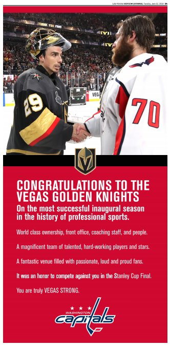 In today's RJ: A message from the  to the : 'Congratulations to the Vegas Golden Knights on the most successful inaugural season in the history of professional sports'   #VegasBorn#ALLCAPS