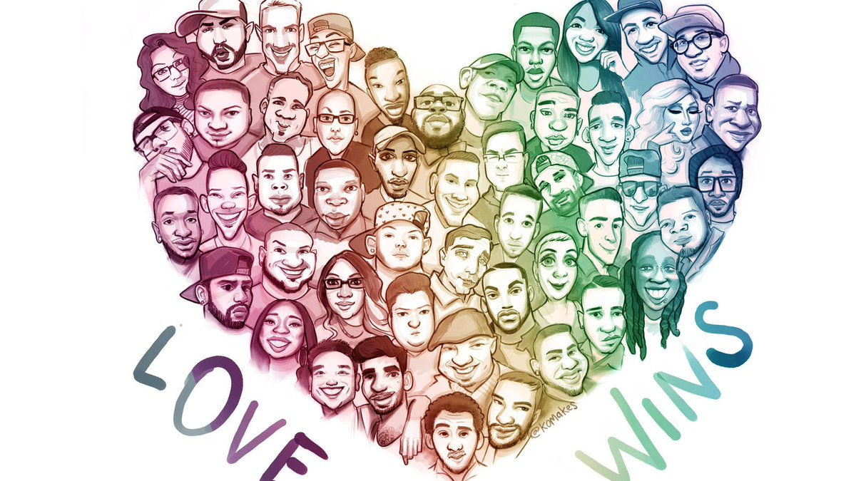 This artwork by Kelly O'Brien is so moving... In remembrance of the 49 we lost in the tragedy at Pulse Nightclub two years ago today. 💙