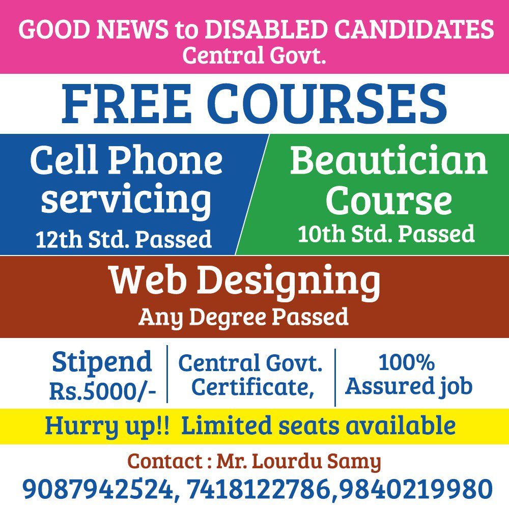 Central Government Free Beautician Course In Chennai
