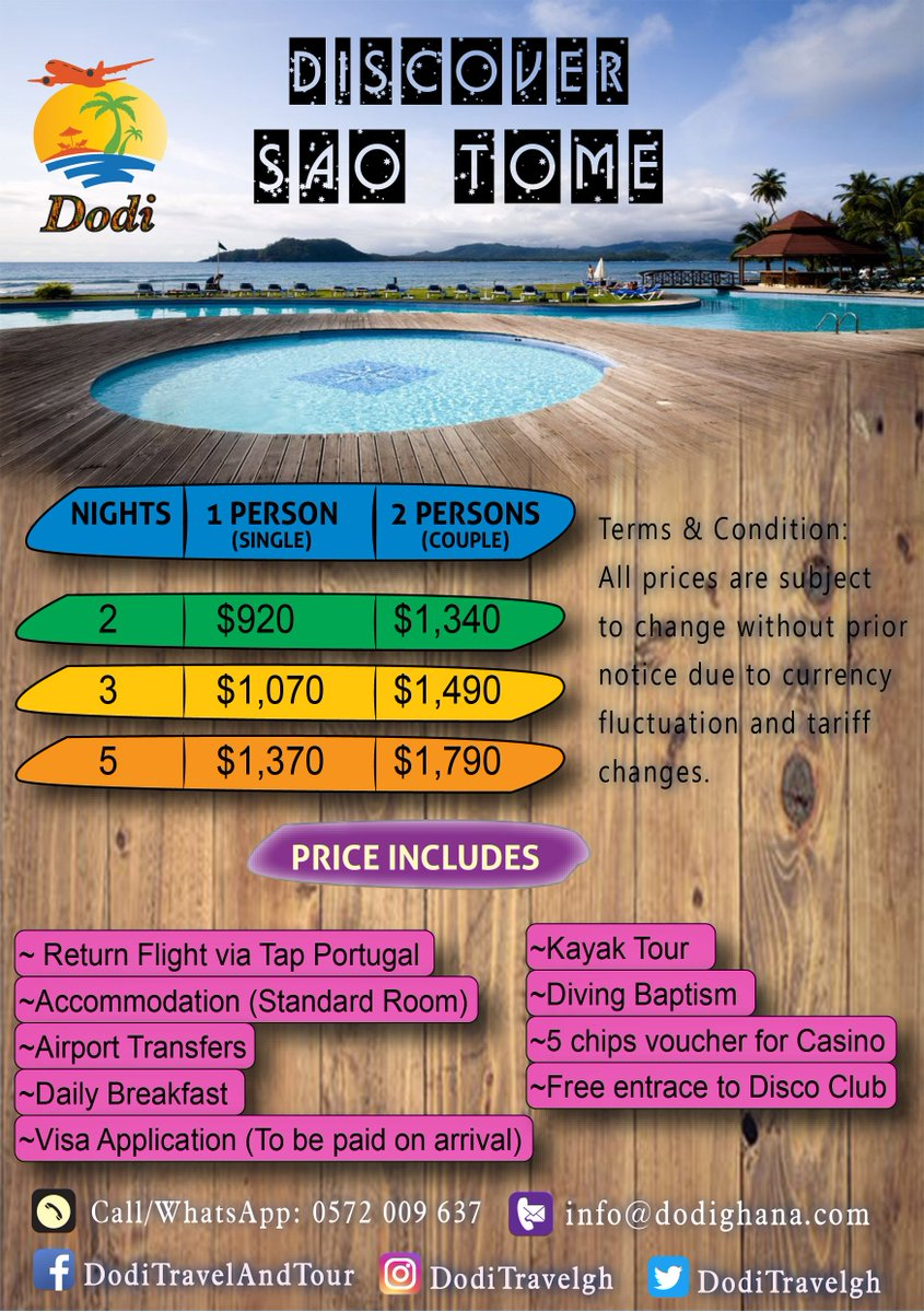 Dodi Travel Tours Doditravelgh Twitter Voucher Whatsapp Blast Discover Sao Tome With Us And Experience The Beauty Of Nature For An Affordable Price Call Now 0572 009 637 Email Infododighanacom Idotourism Saotome