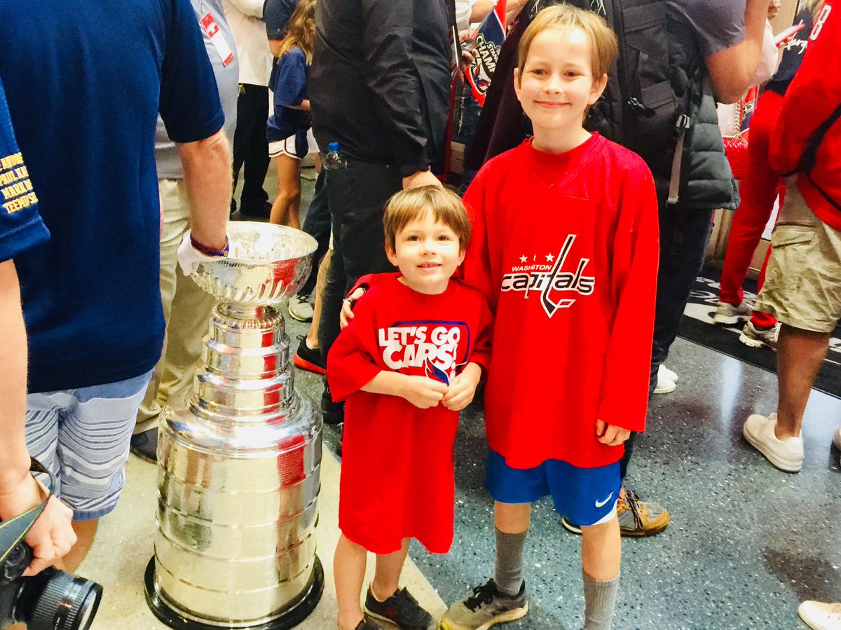 At Capital One Arena, before the madness began, Ovi was kind enough to introduce the boys to @StanleyCup. Thank you, Stanley, for being so gracious. I love this city. #blessed