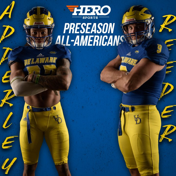 Congrats to @troyreeder9 and @NasirAdderley on being named Preseason All-Americans by @HEROSportsFCS! #BleedBlue302 #BlueHens
